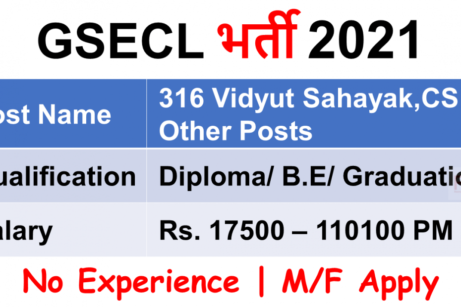 GSECL गुजरात स्टेट इलेक्ट्रिसिटी कॉरपोरेशन लिमिटेड Government job